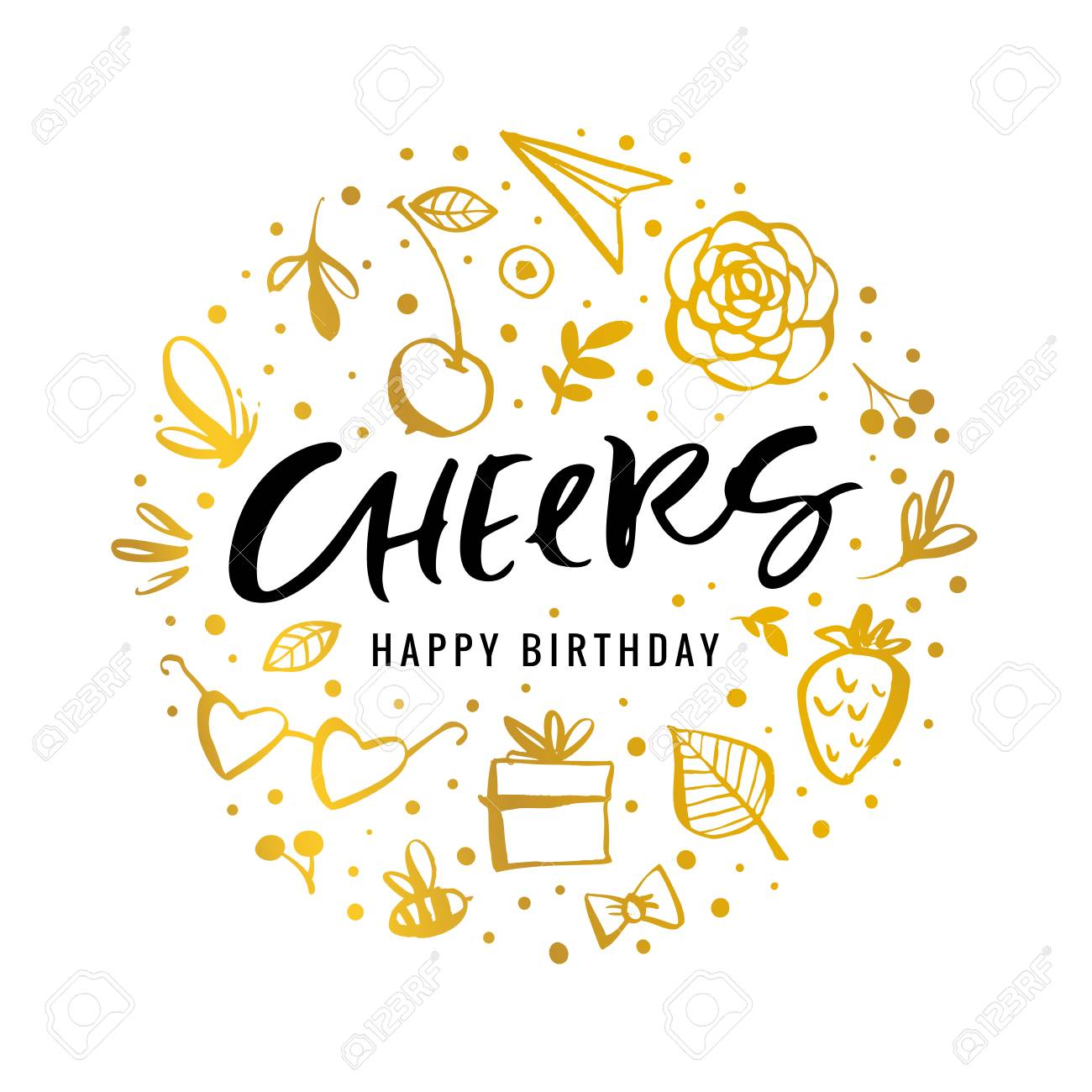 Cheers Happy Birthday Calligraphy Greeting Card With Golden