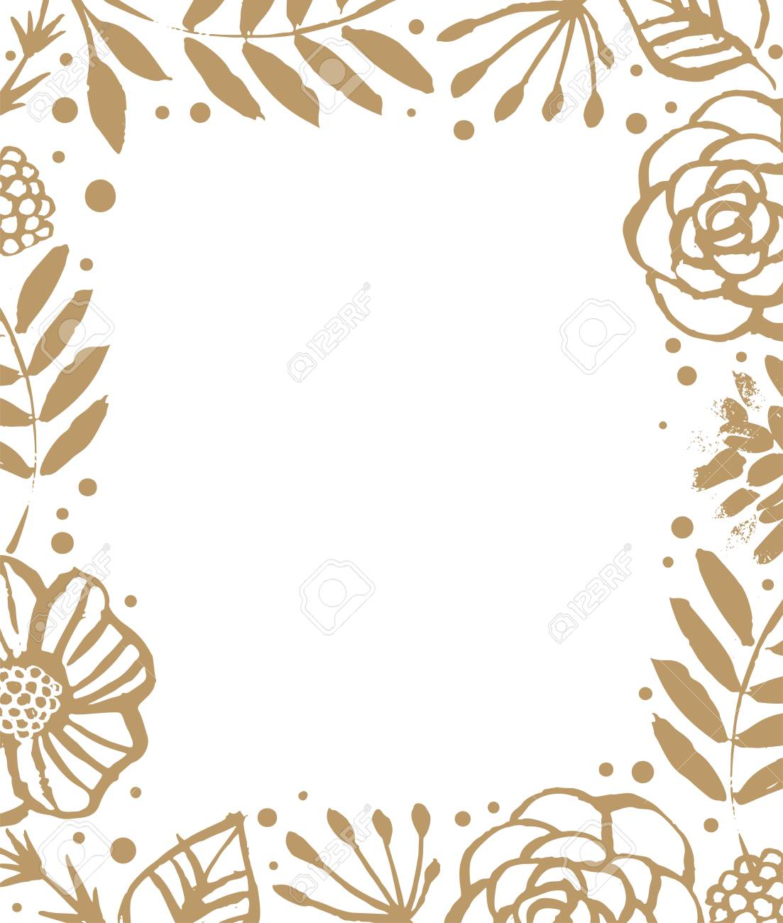 Flower Frame Template For Wedding Invitation And Greeting Card ...
