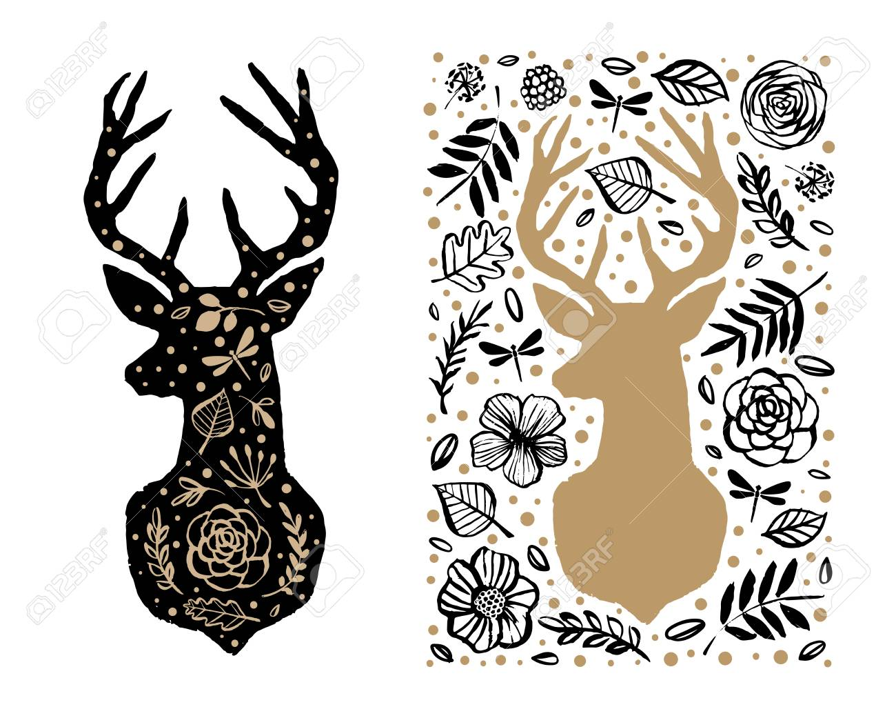 O Deer Silhouette of deer in the flower pattern. Hand drawn design elements. Black  and white