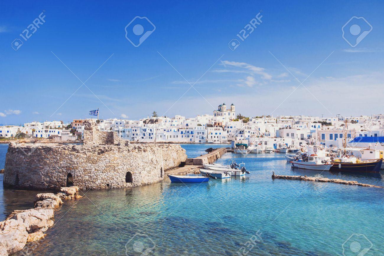 Picturesque Naousa village, Paros island, Cyclades, Greece - 54433707