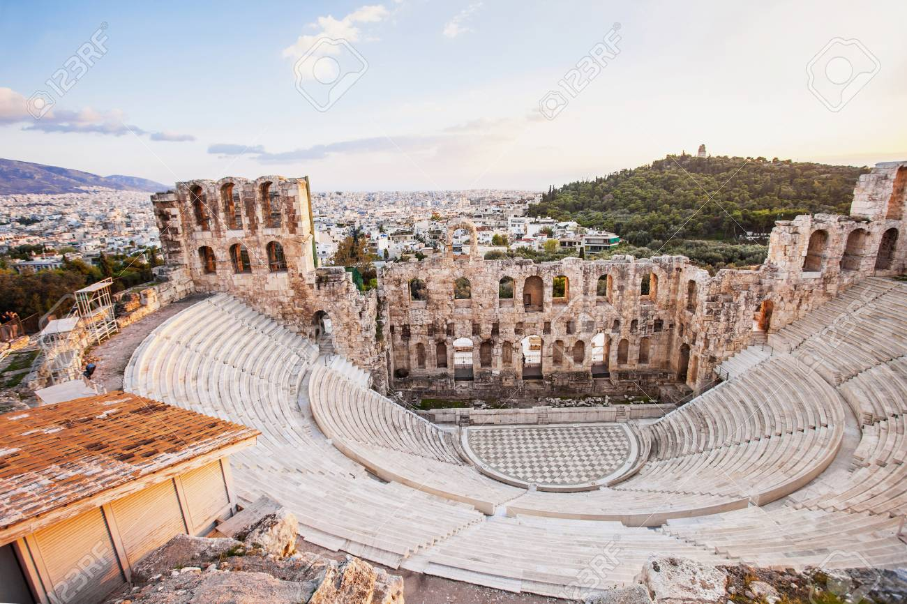 The Odeon Herodes Atticus Theatre Near Acropolis In Athens Greece Stock Photo Picture And Royalty Free Image Image 87296355
