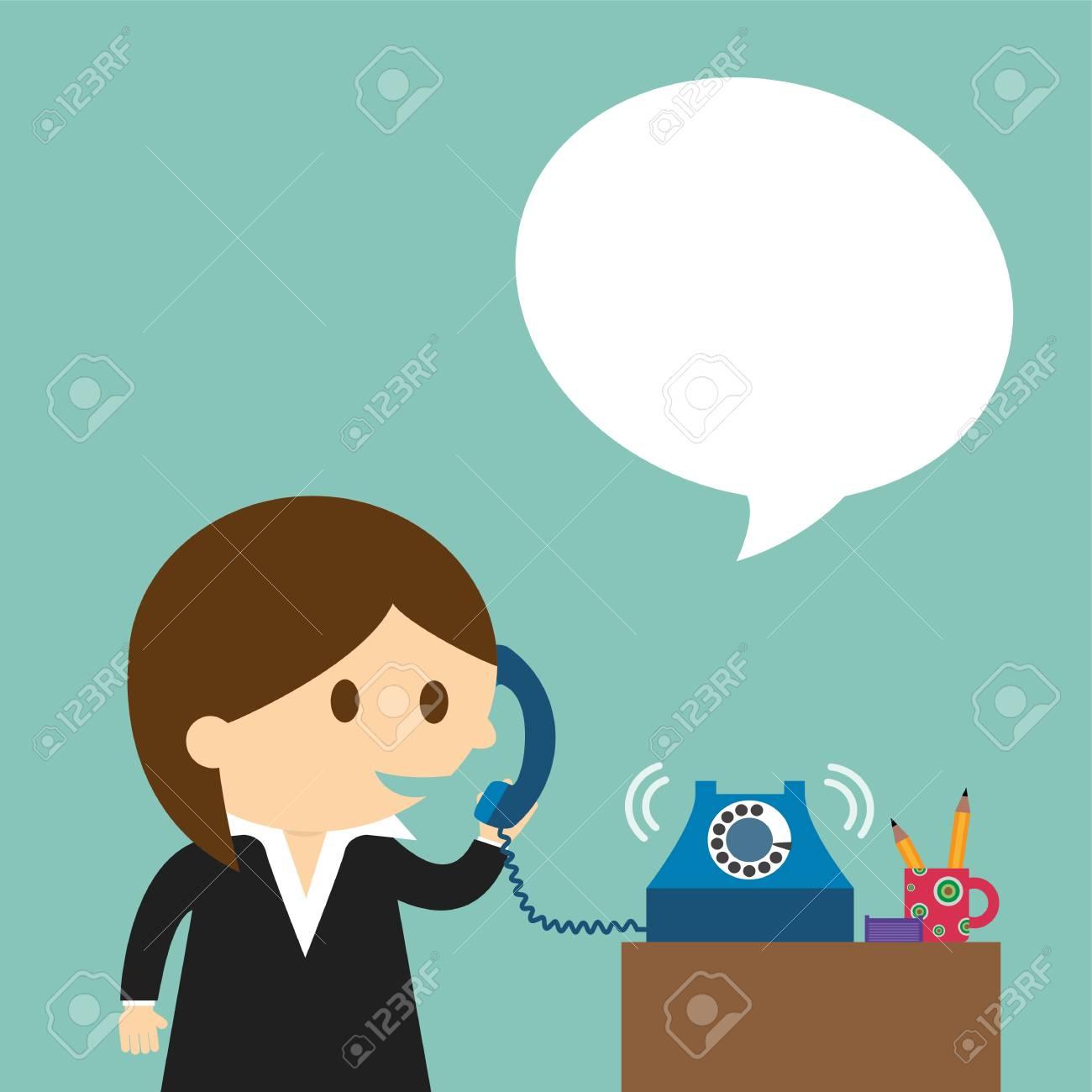 電話に向かってしゃべる実業家のイラスト素材ベクタ Image 40605973