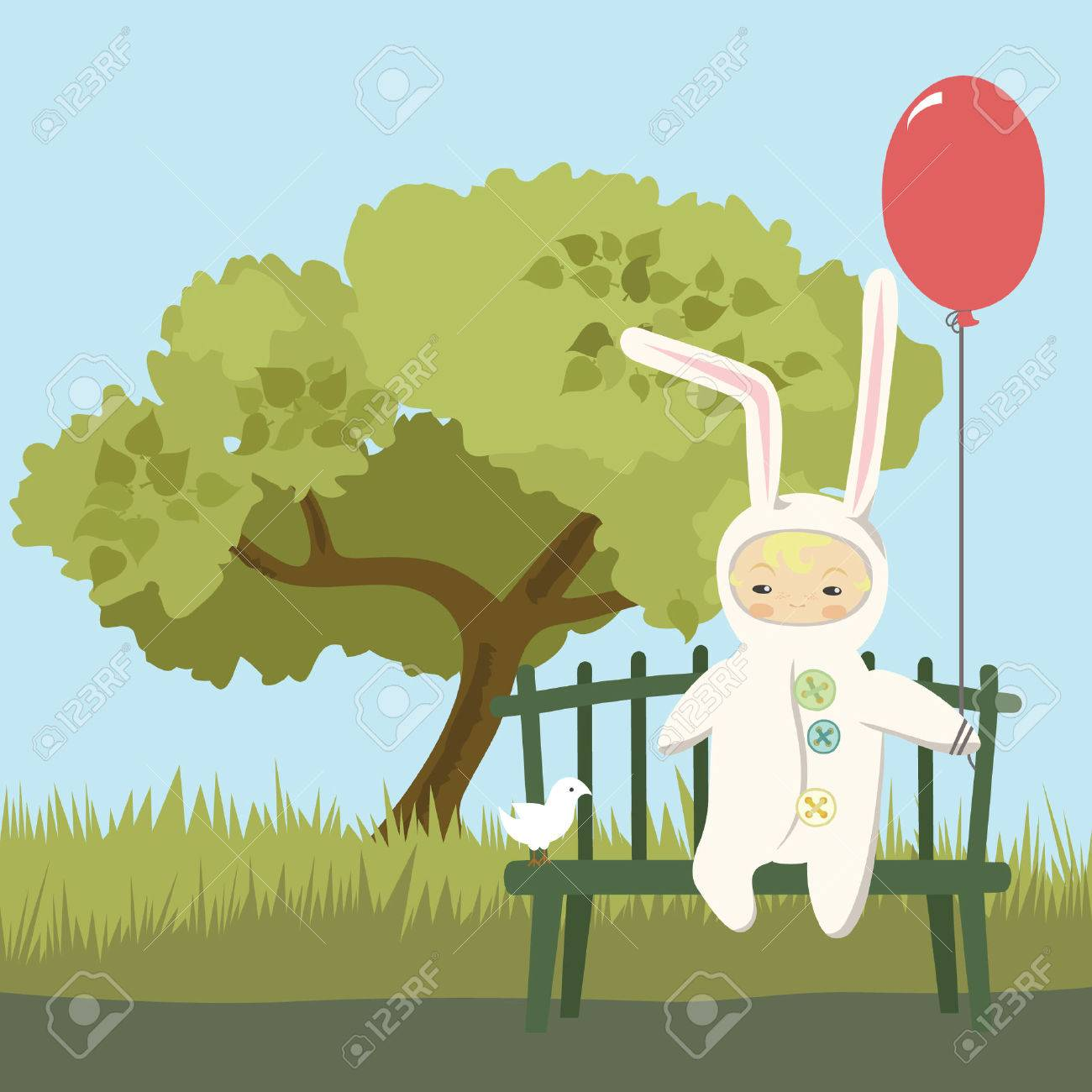 Small Child in Bunny Costume - 4757284