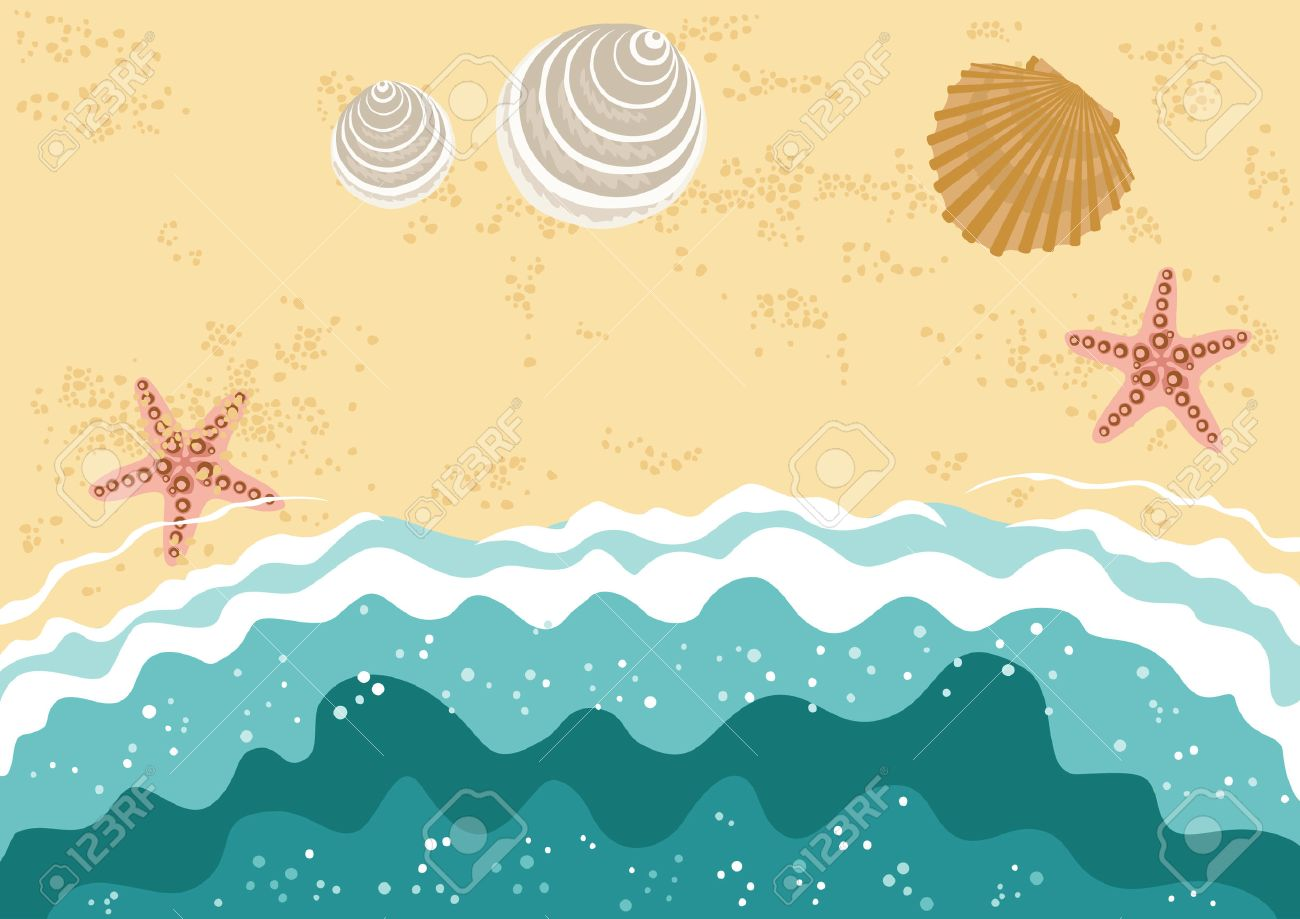 Beach Waves Clipart Sea With Shells And Stock Vector 5167829