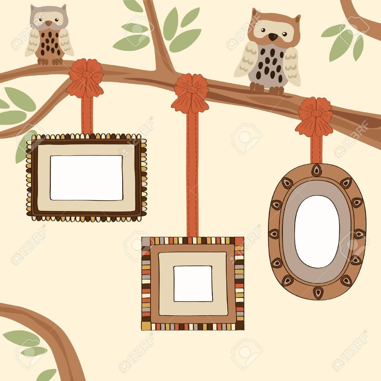 Three Empty Frames On Family Tree Royalty Free Cliparts, Vectors ...