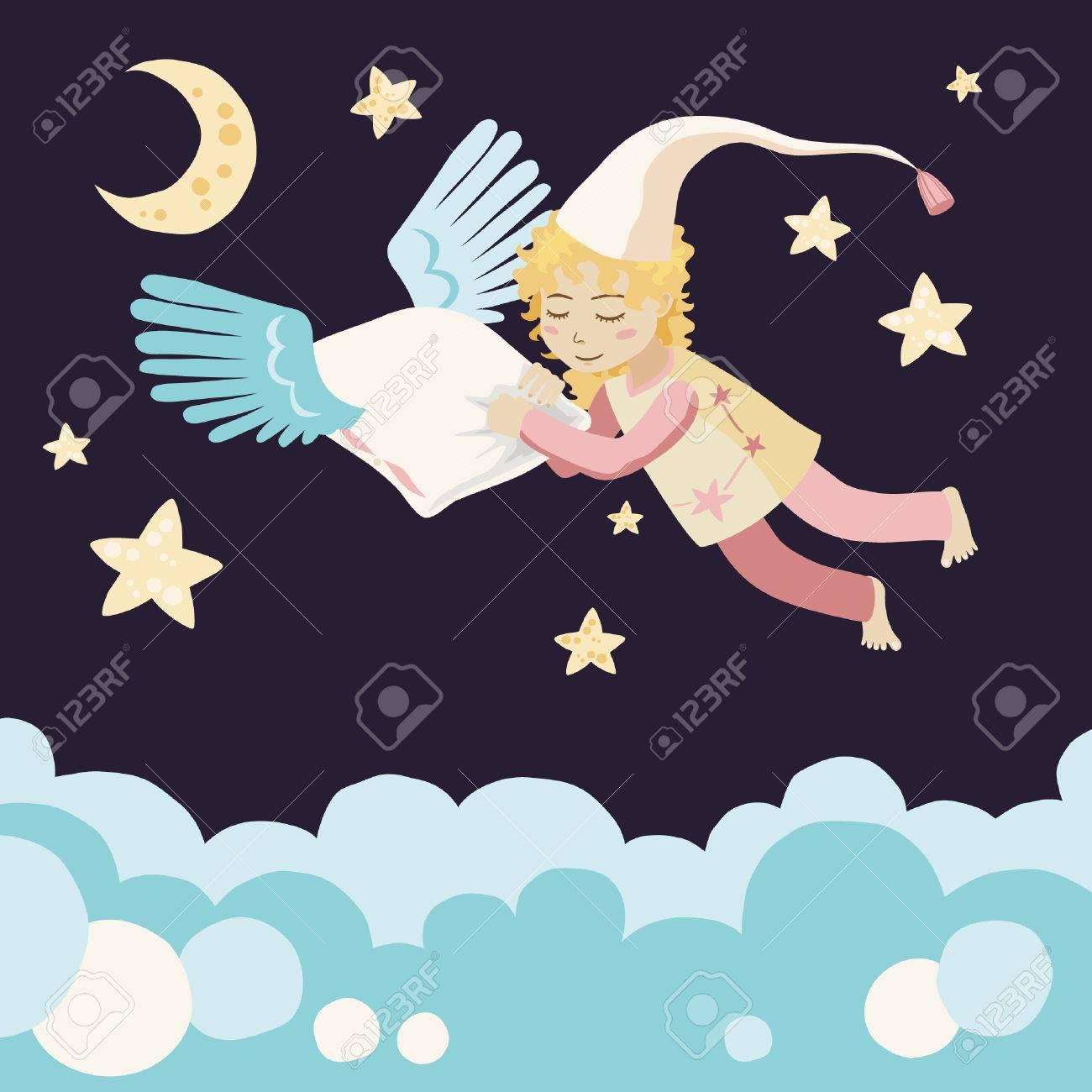 Sleeping Girl with Flying Pillow Stock Vector - 5540260