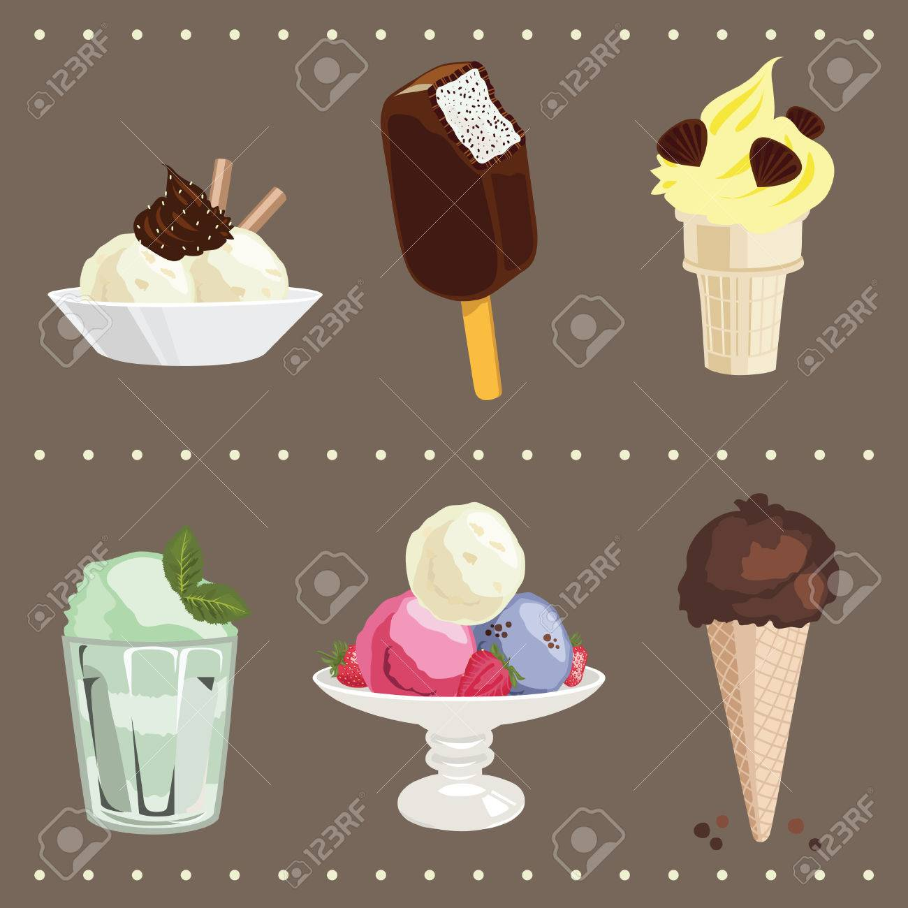 Colored ice ream icons' set Stock Vector - 6137883