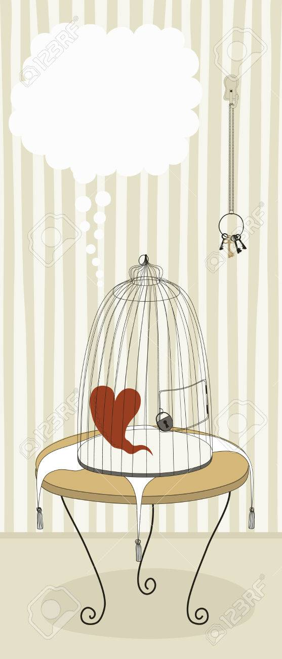 Lonely heart in locked cage Stock Vector - 6261709