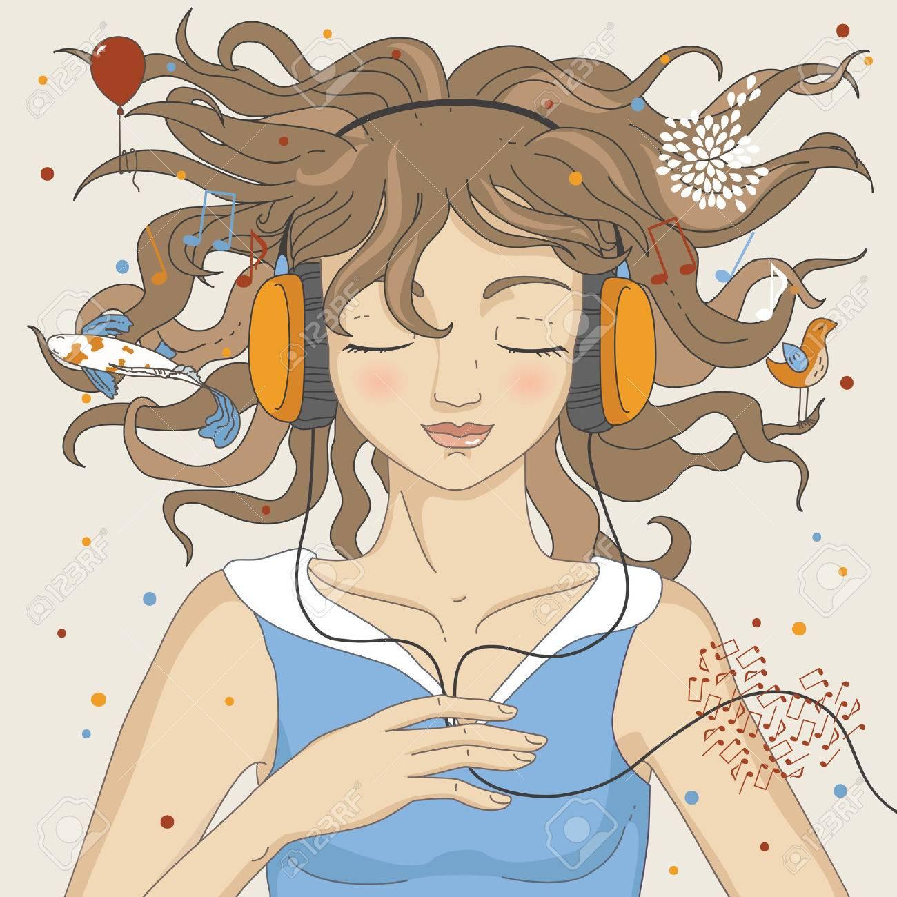 Girl listening music in headphones Stock Vector - 6833158