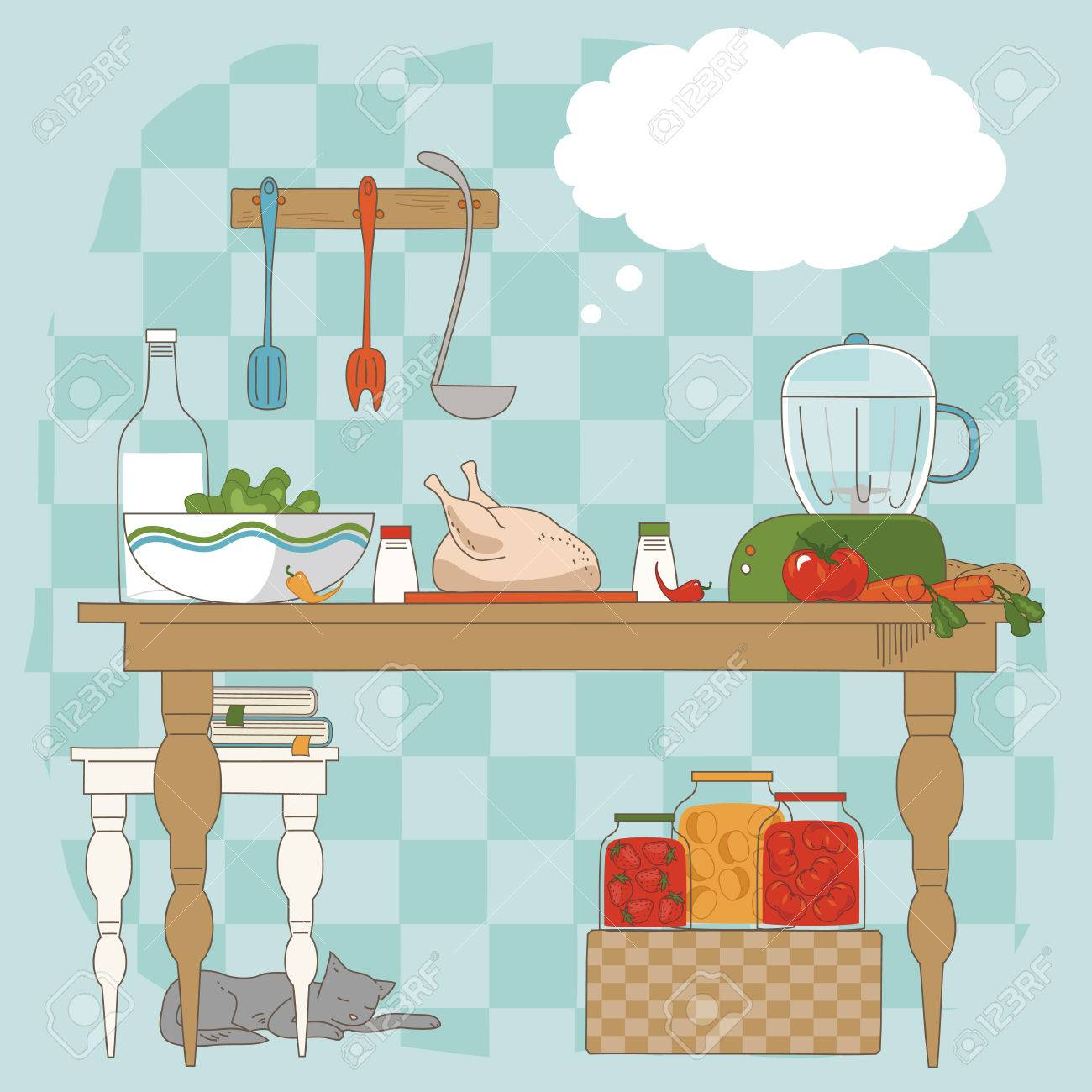 Kitchen table with utensils and ingredients for cooking Stock Vector - 6833156