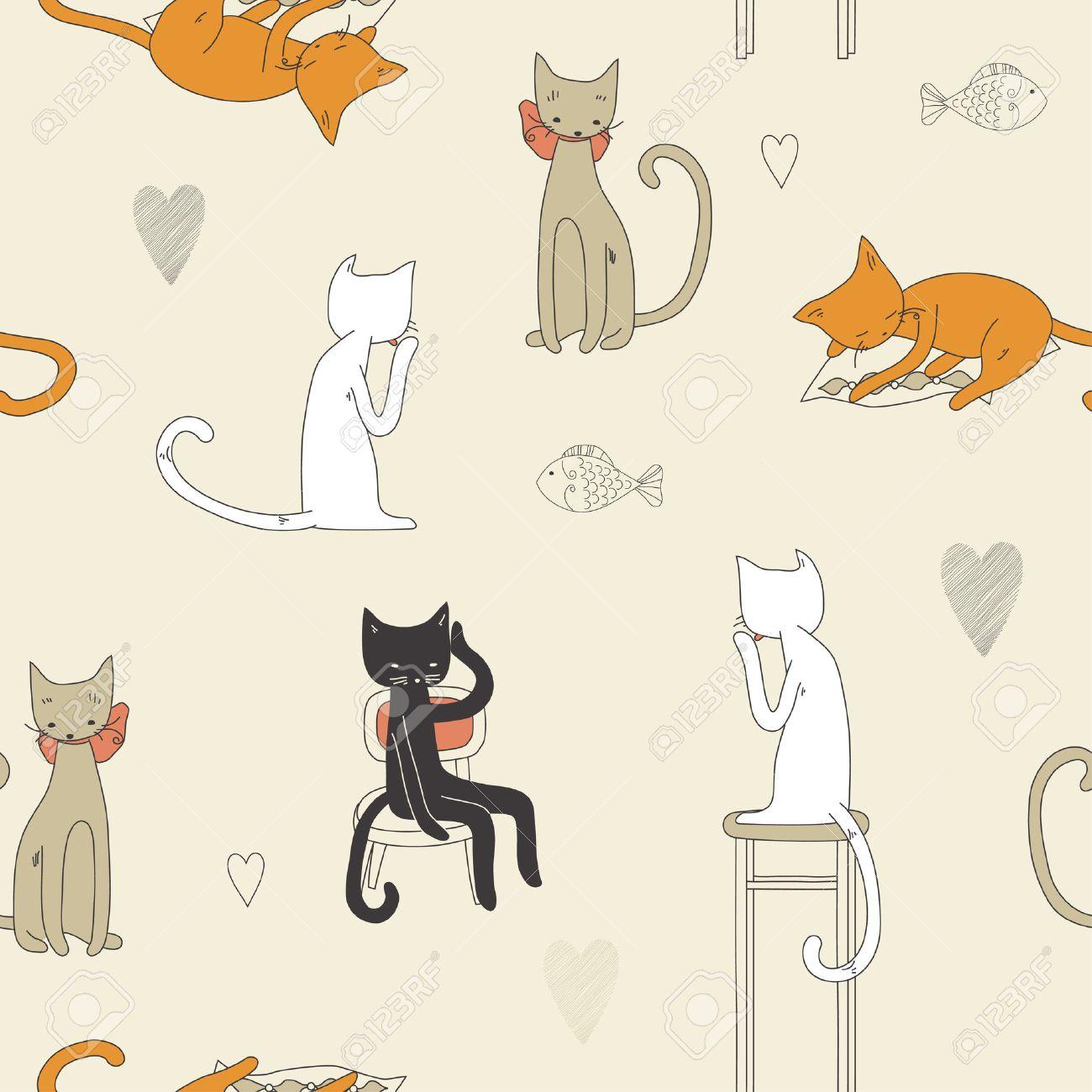 Cat seamless pattern Stock Vector - 7165661