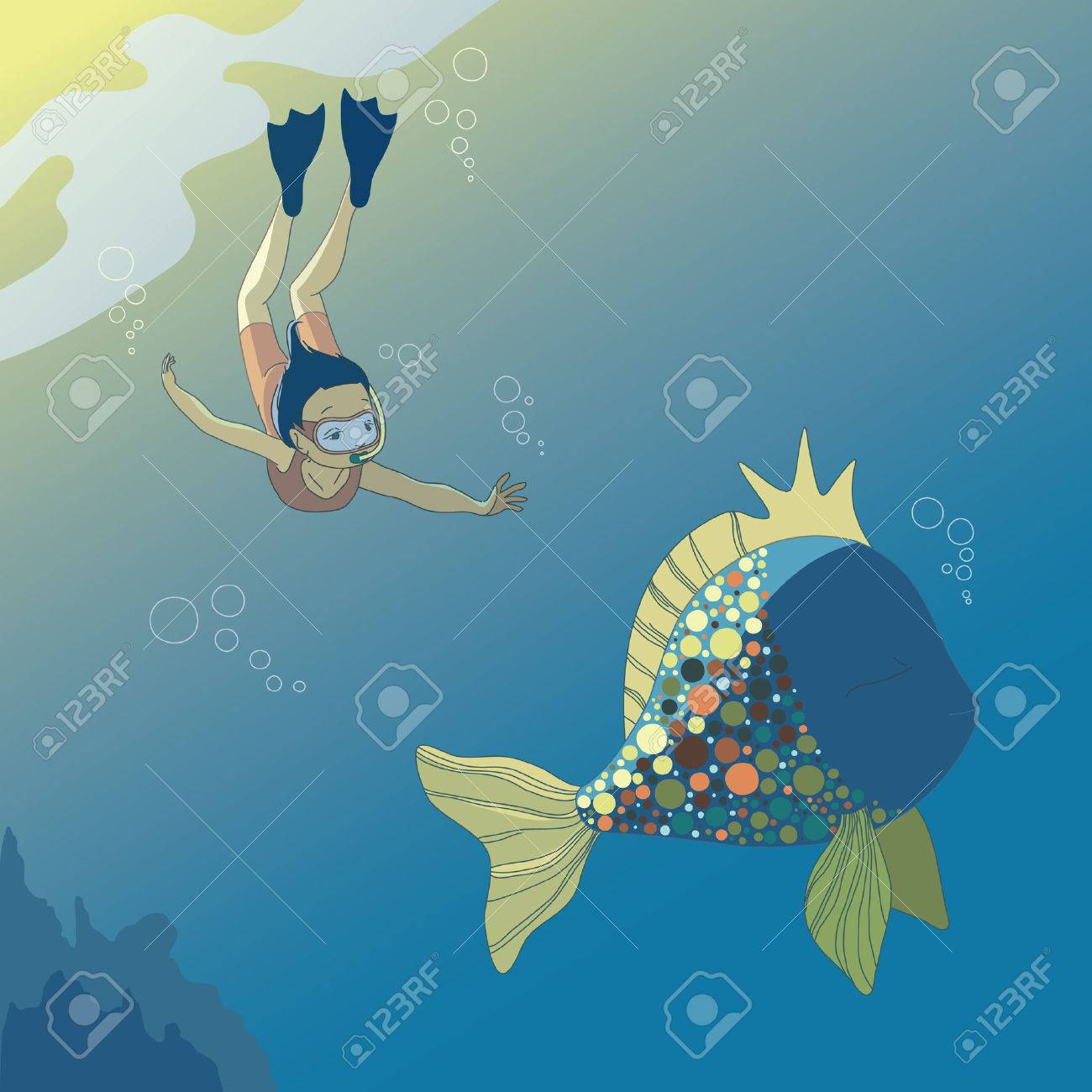 Little diving girl and big fish Stock Vector - 7297519