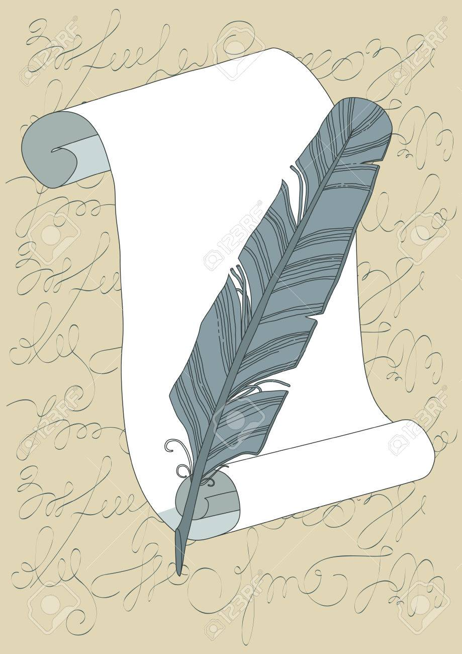 Grey quill and empty scroll Stock Vector - 8841985