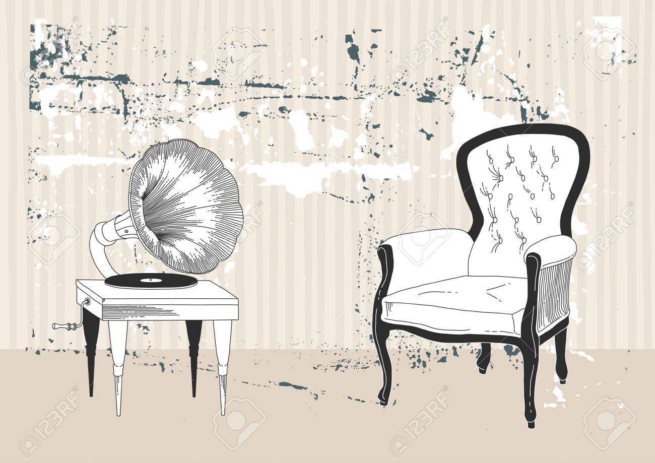 Old gramophone and armchair Stock Vector - 9699112