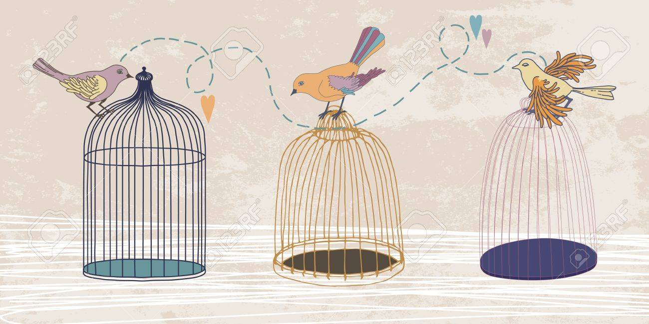Three variegated birds and three cages Stock Vector - 10512069