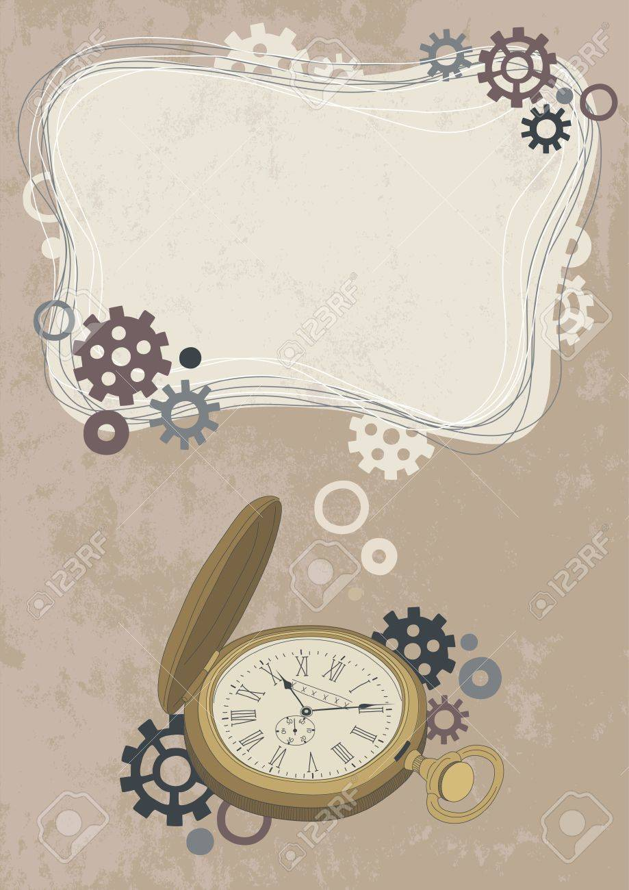 Open pocket watch and frame Stock Vector - 12084667