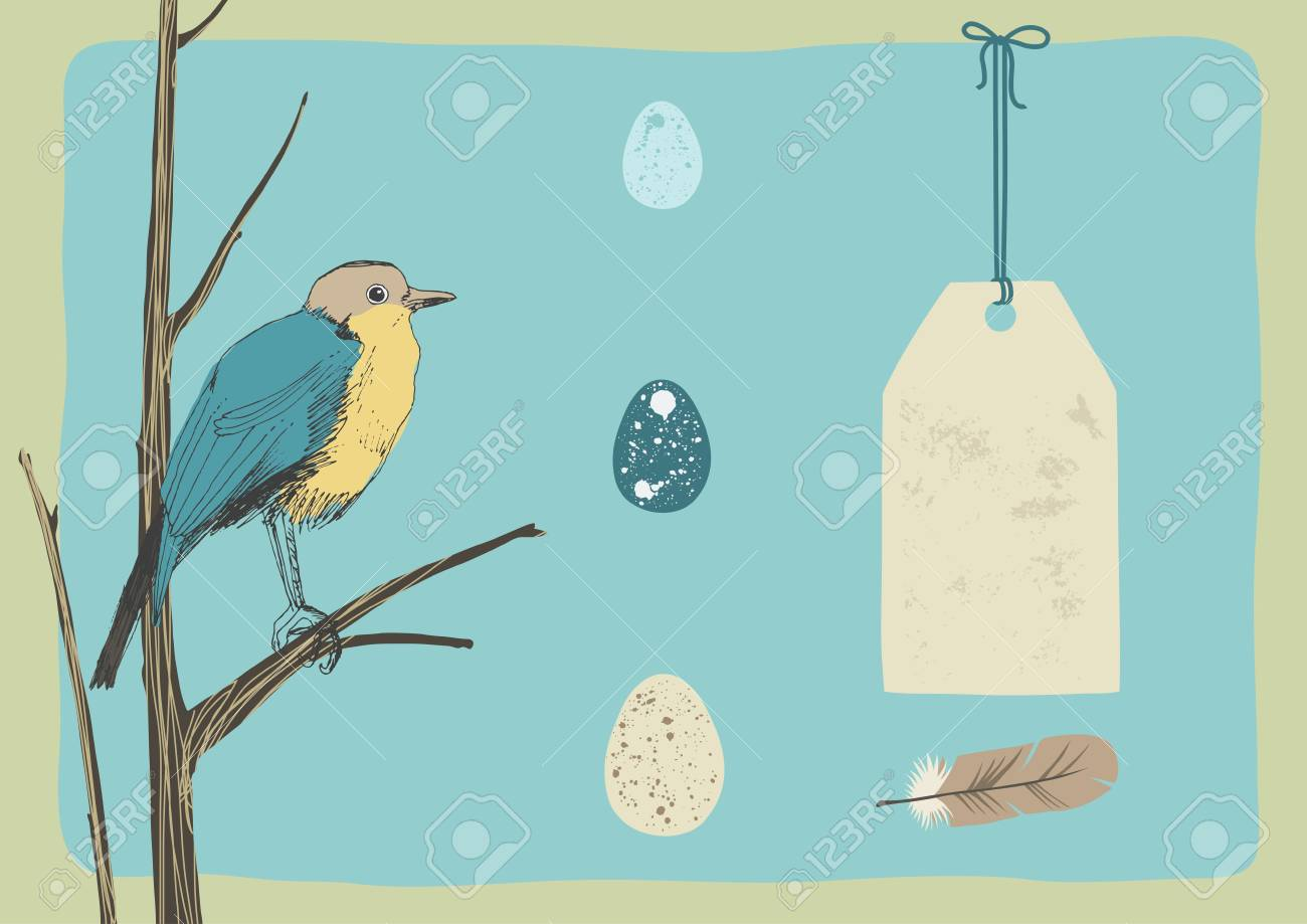 Bird, three eggs and tag Stock Vector - 12609809