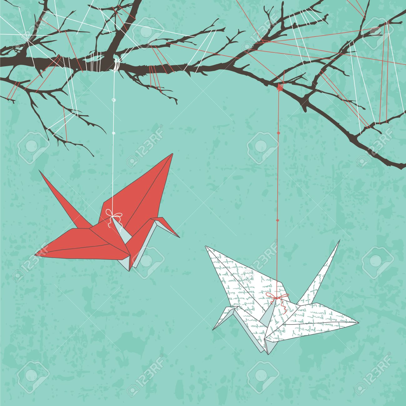 Two Paper Cranes Hanging On Tree Branch Stock Vector