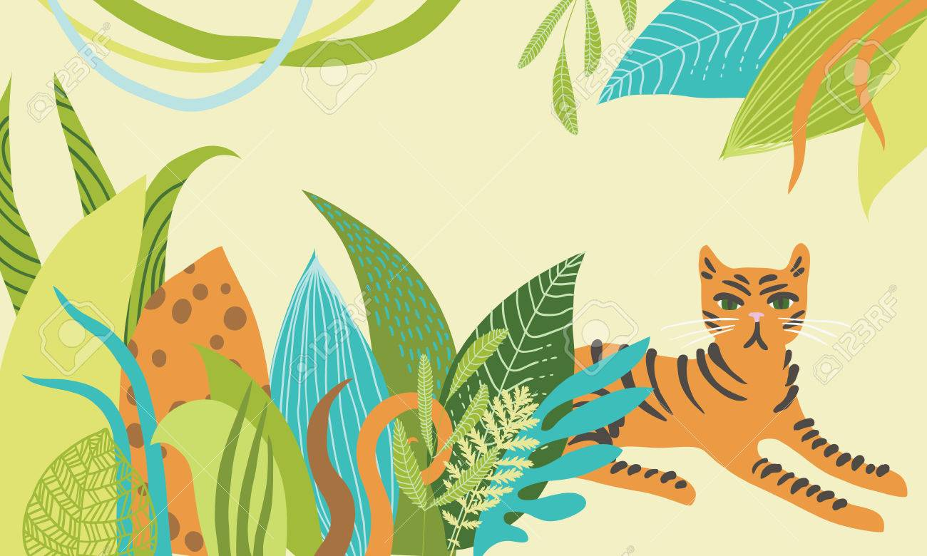 Illustration of tiger lying in the bushes Stock Vector - 27875662