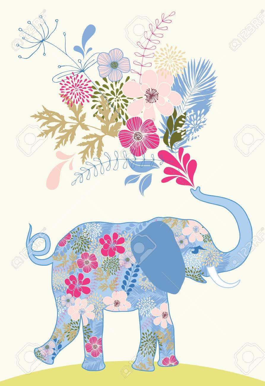 Gemusterte Elefant Mit Strauß Rosa Blumen Lizenzfrei Nutzbare ...