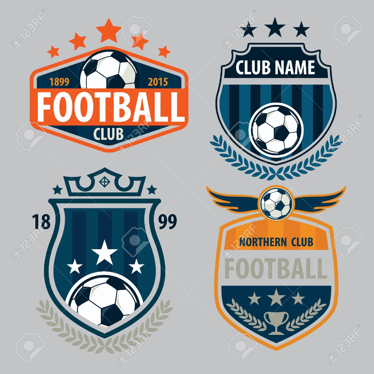 Football Badge Logo Template Collection Design Soccer Team Vector