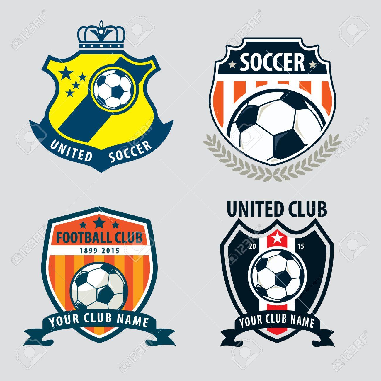 Design t shirt soccer - Tshirt Logo Football Badge Logo Template Collection Design Soccer Team Vector Illuatration