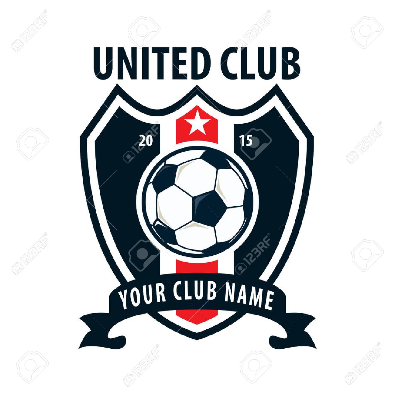Fußball-Abzeichen-Logo-Vorlage Design, Fußball-Team, Vector ...