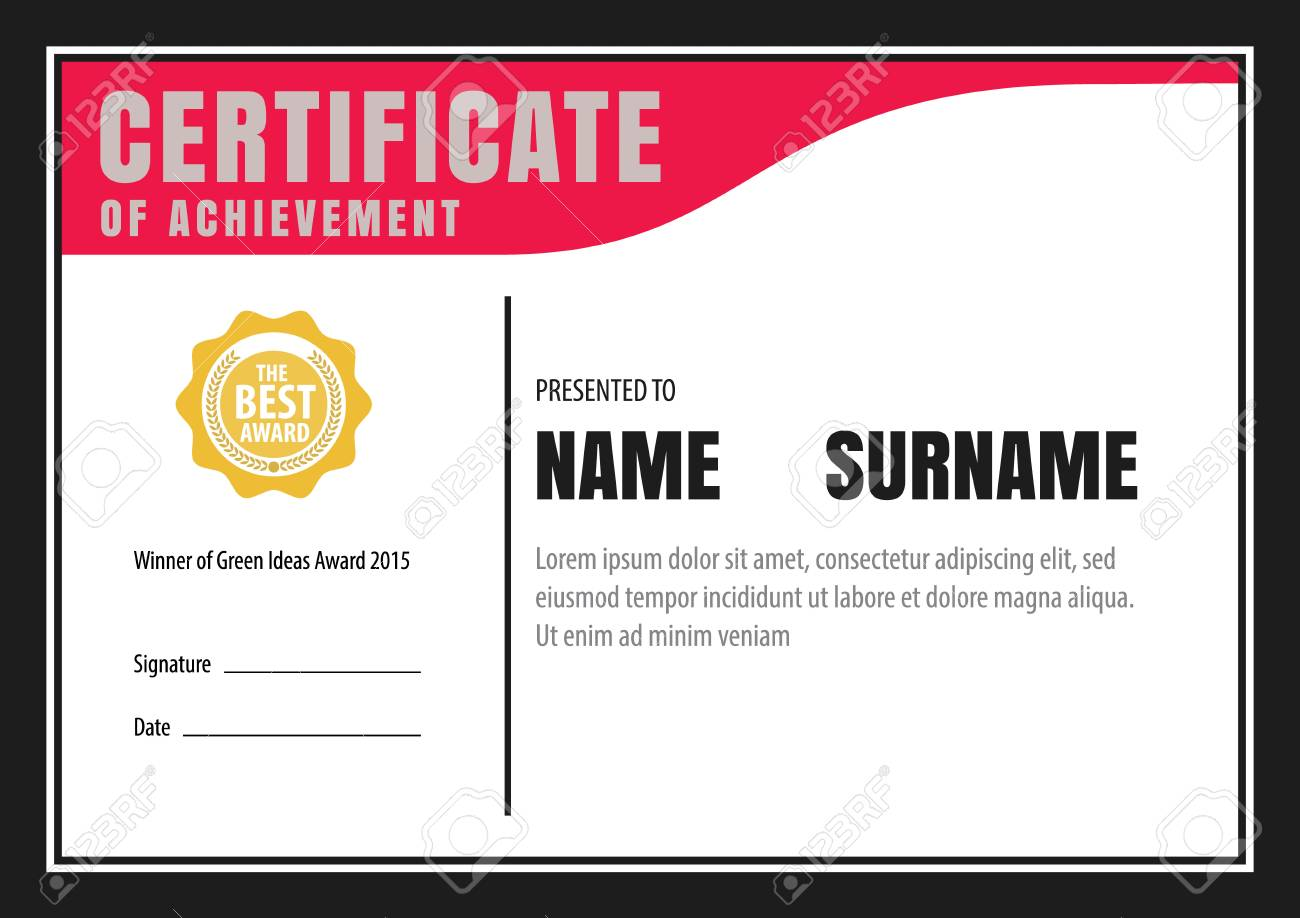 Horizontal Certificate Templatediplomaletter Size Vector Royalty