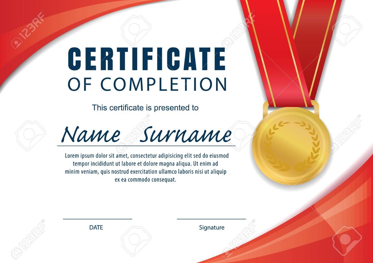 Horizontal Certificate Templatediplomaa4 Size Vector Royalty Free