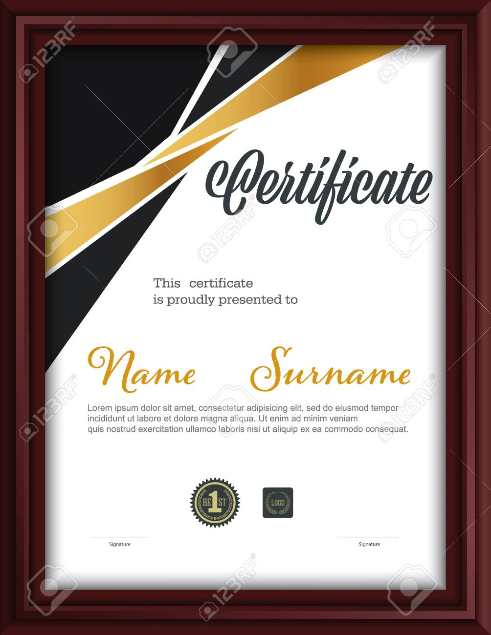 Certificate Template Letter Size Diploma Vector Illustration