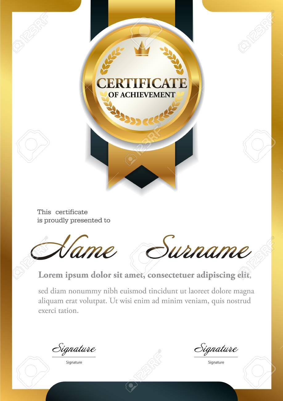 Certificate Template A4 Size Diploma Vector Illustration Royalty