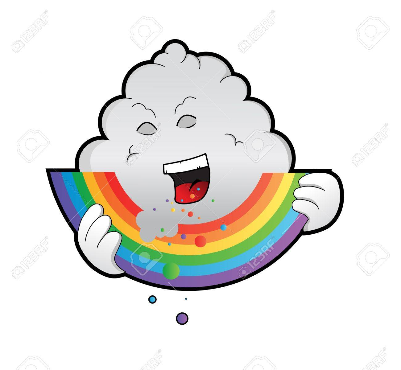 a well designed and detailed illustration of a bad rain cloud eating away on a bright colorful rainbow. Eps version, paths and gradients used Stock Vector - 9930967