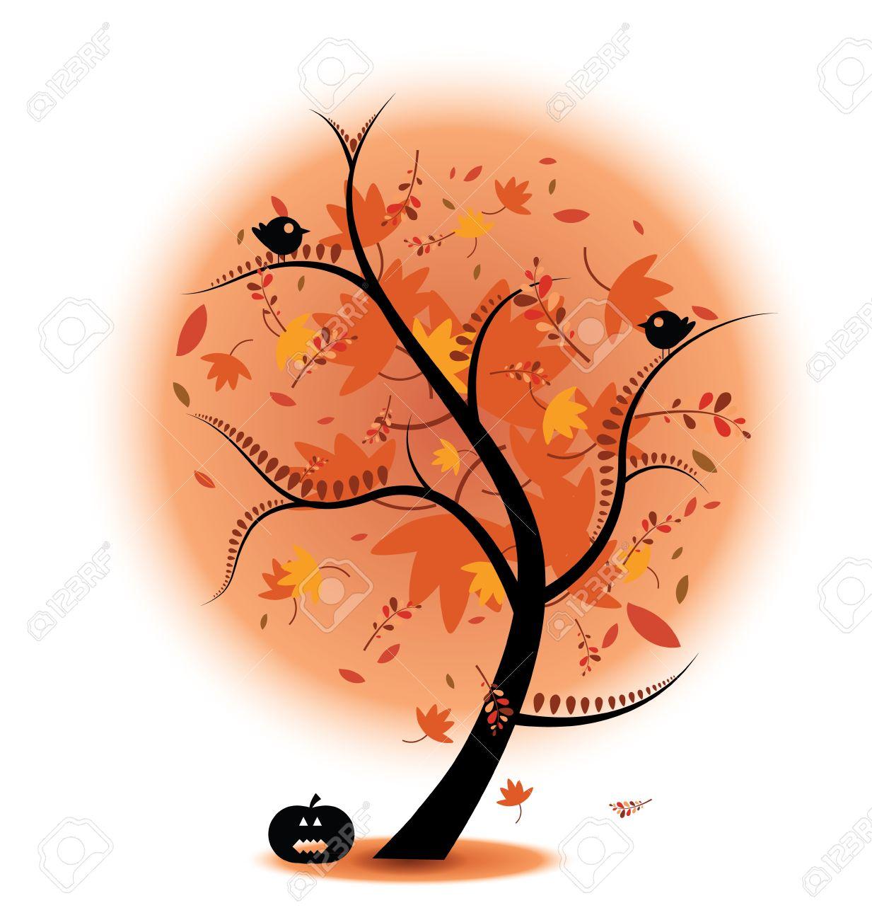 秋の木在庫イラスト鳥とカボチャを完了します。秋のテーマに最適です