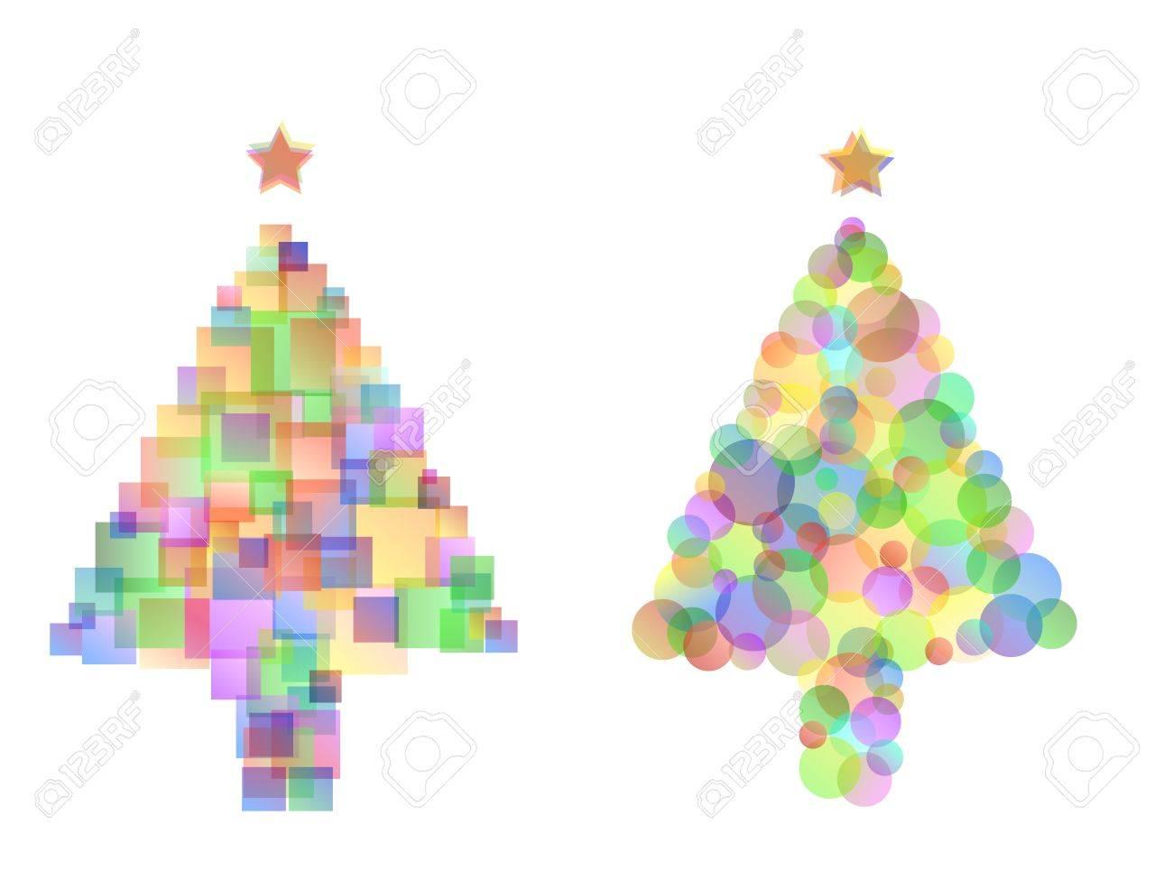 Disegni Di Natale Vettoriali.Due Diversi Disegni Multicolore Albero Di Natale Con Stelle Isolato Su Bianco Opacita E Sfumature Utilizzate