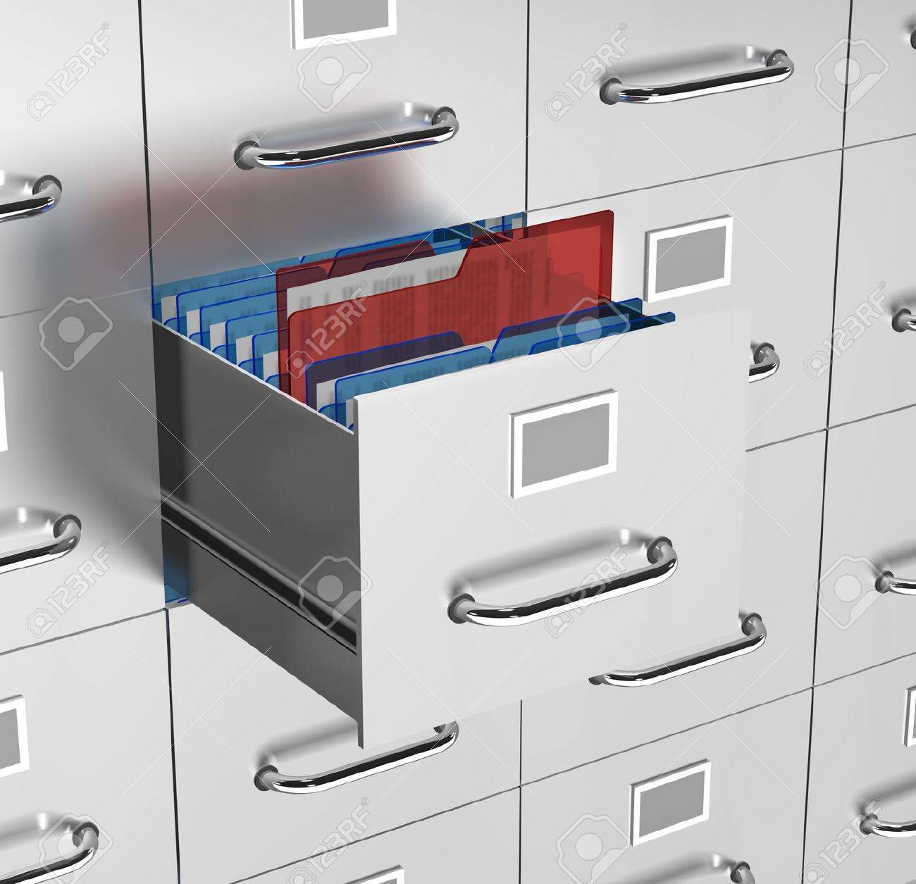 a file drawer is open with office documents on show with a reddocument being selected Stock Photo - 13042117