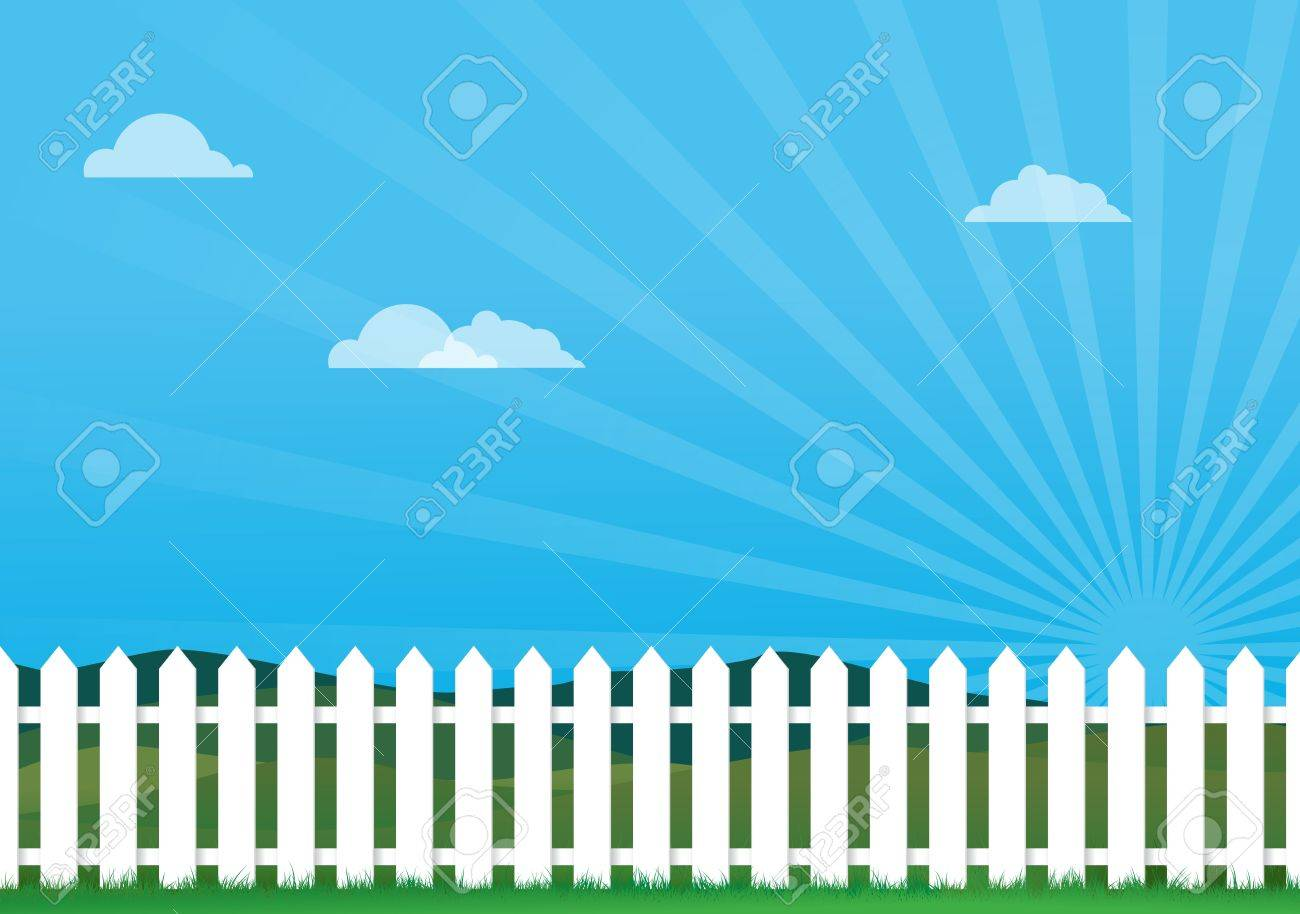a illustration of a white picket fence, Image contains lots of space for copy Stock Vector - 14307727