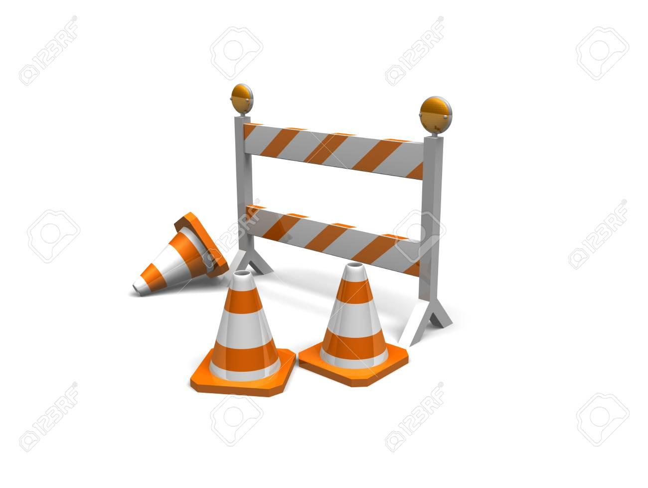 cones and a construction barrier on a white background with shadows Stock Photo - 16967658
