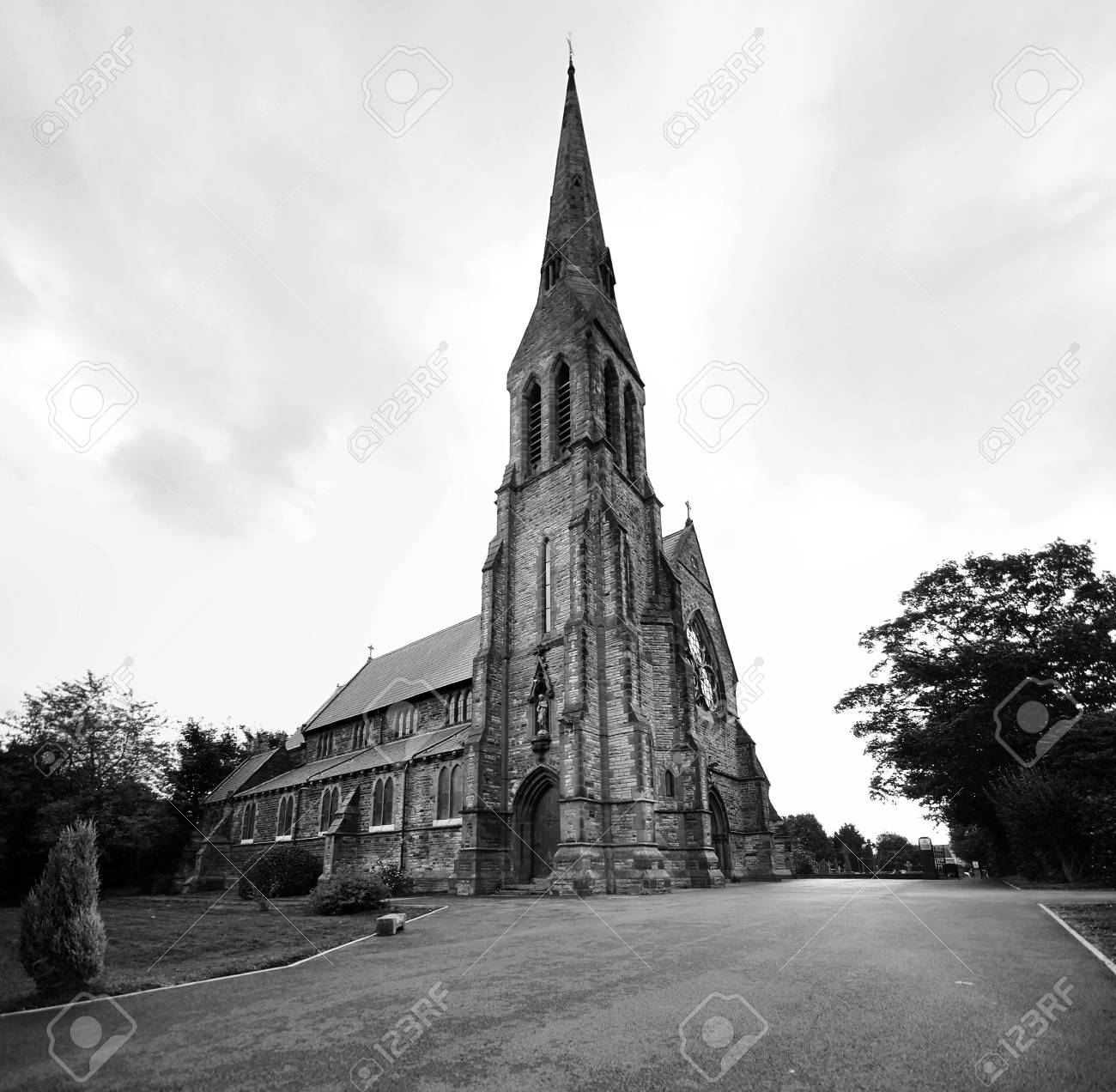 Wide angle shot of a church in black and white Stock Photo - 17289503
