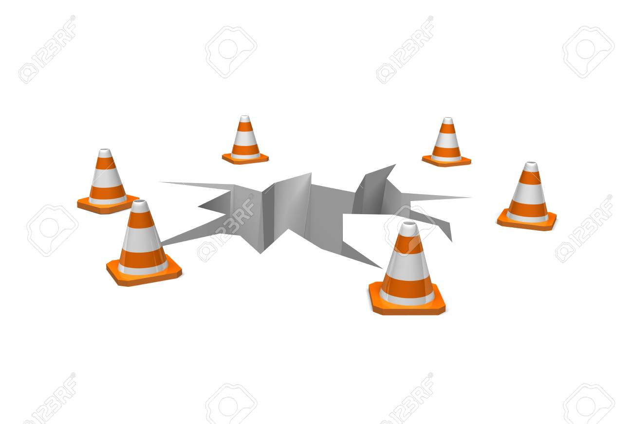cones surround a crack in the ground as a warning Stock Photo - 16967611