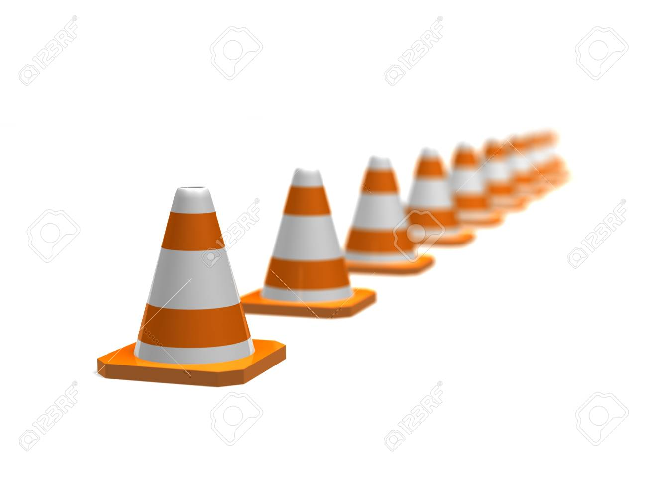 a row of orange traffic cones with a depth of field Stock Photo - 16967595