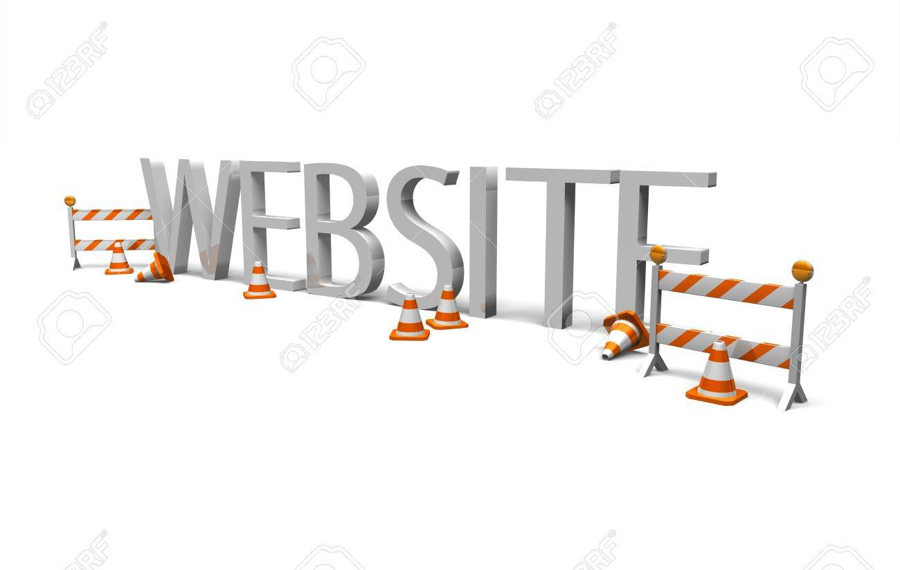 an image of the word  website  surround by constrcutions cones and barriers to symbolise website maintenance Stock Photo - 16547755