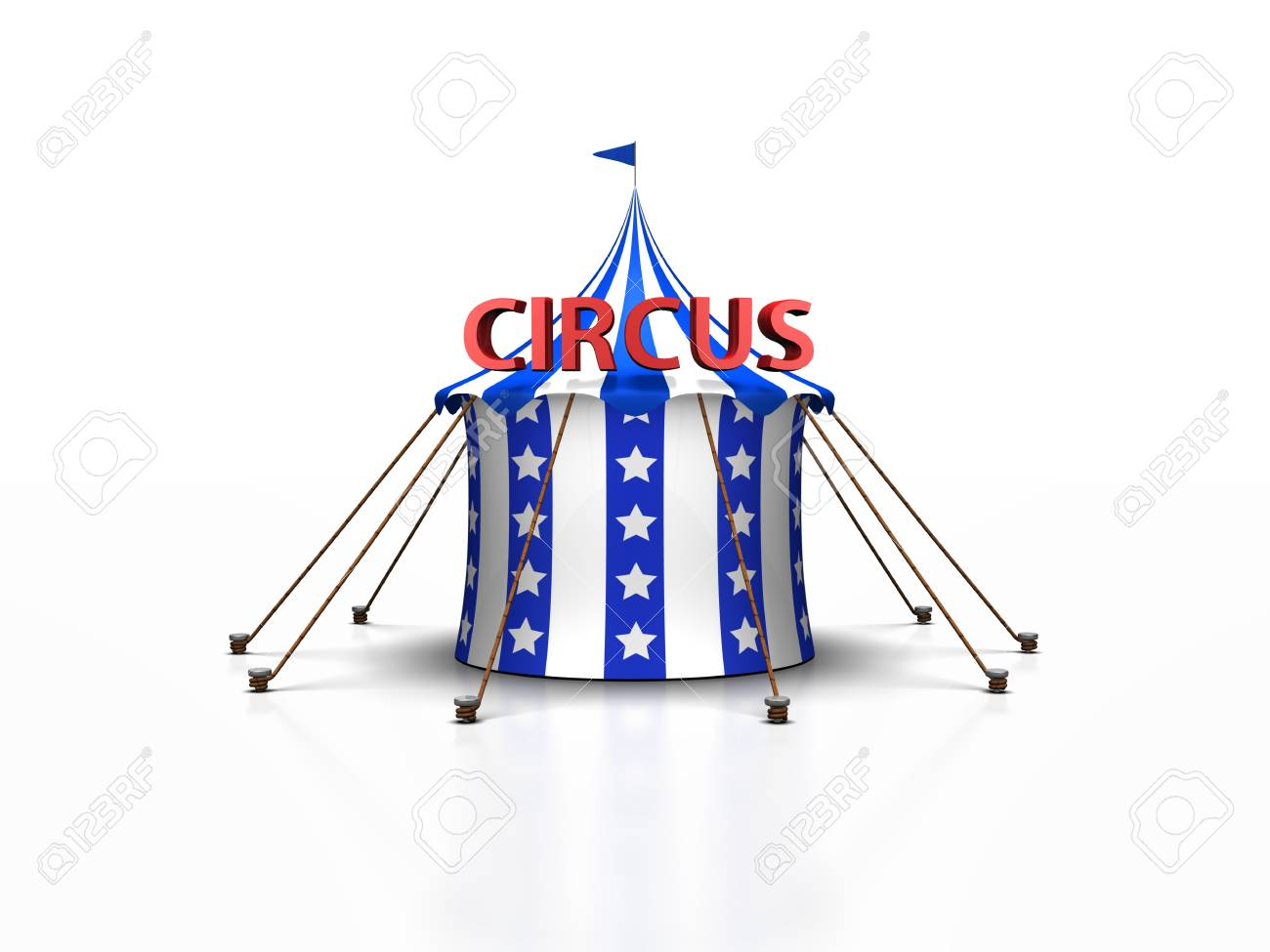 a cute blue and white circus tent against a white background with a reflection Stock Photo - 19404365