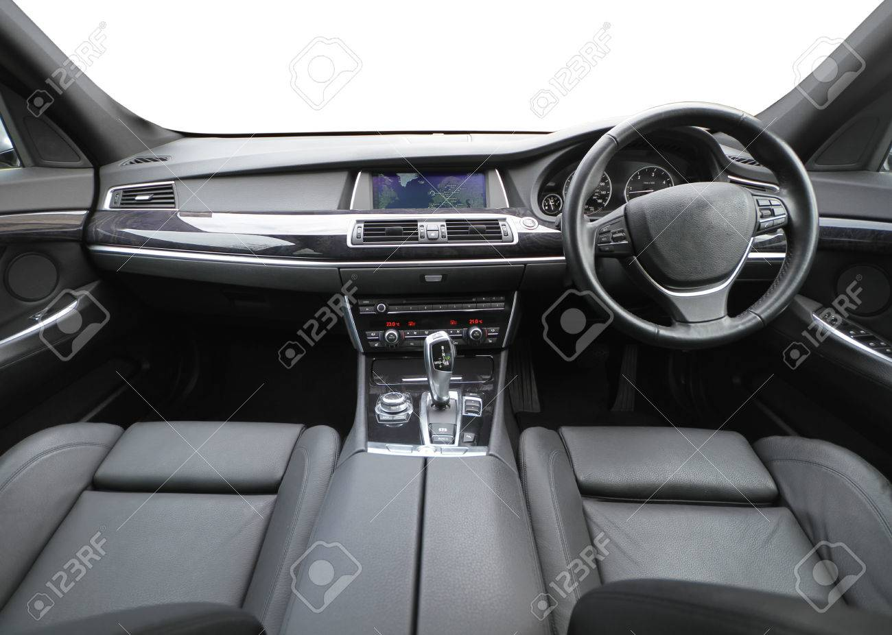 And Detailed Wide Shot Showing The Inside Of A High Class Car ...