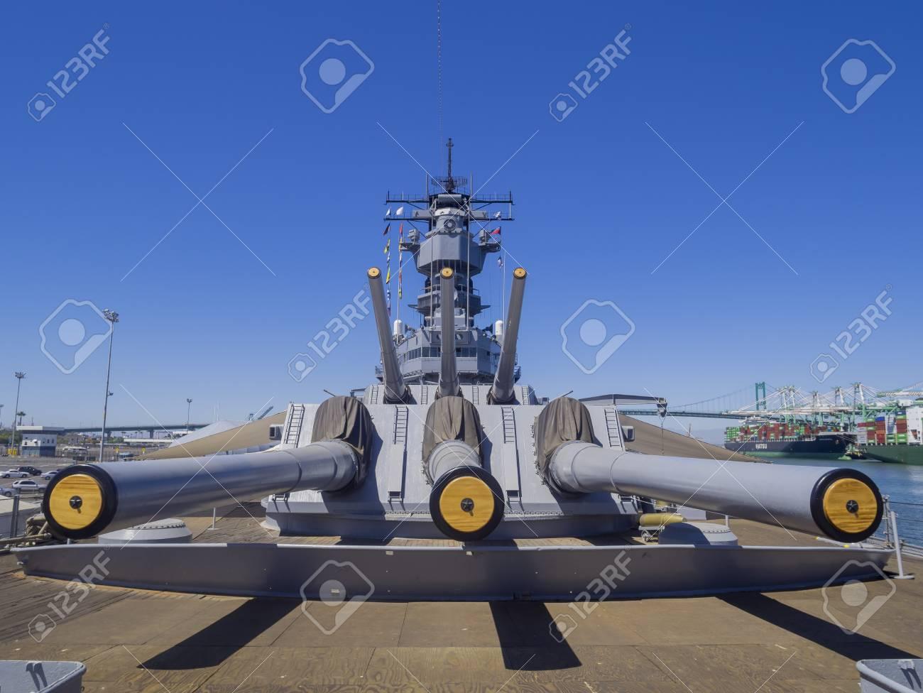 Long Beach, JUL 24: Battleship USS Iowa on JUL 24, 2014 at Long