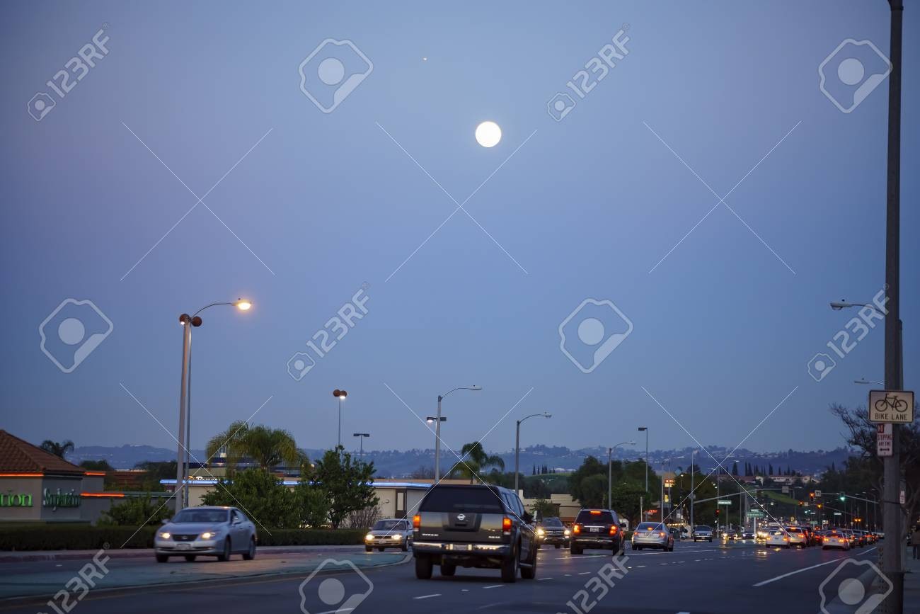 Rowland Heights, MAR 11: Moon and street view on MAR 11, 2017