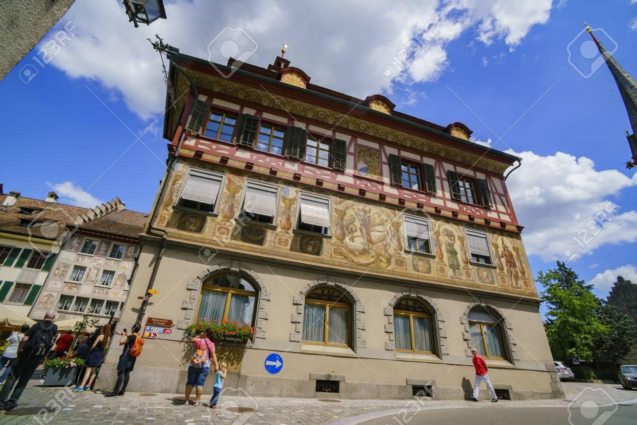 Schaffhausen, JUL 15: Haus Zum Steinbock, Hinter Dem Rathaus.. Stock ...