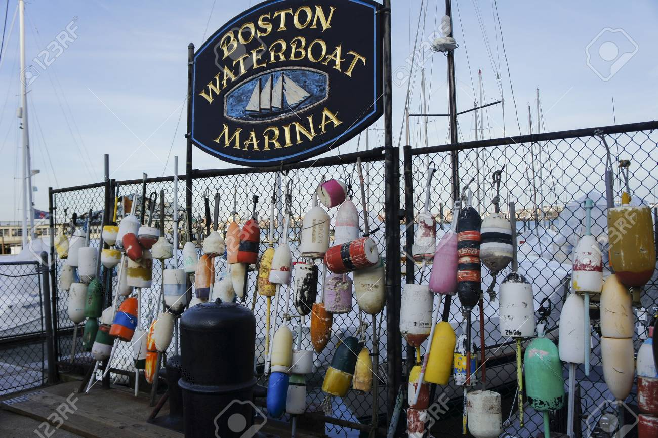 Boston, JAN 26: Many Lobster Buoys Hanging Over Woven Wire Fence ...