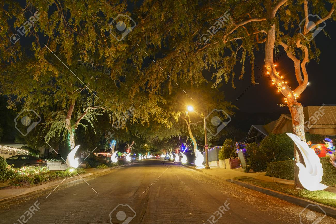 beautiful christmas lights in upper hastings ranch neighborhood at los angeles stock photo 91926194