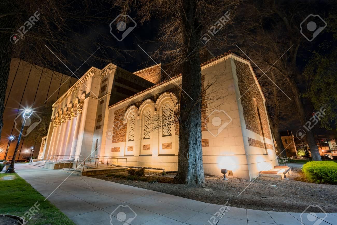 Exterior Night View Of The Beautiful Sacramento Memorial Auditorium,  California Stock Photo   97537136
