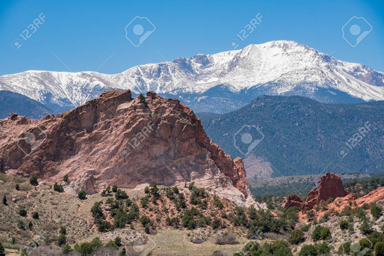 Gray Rock and snow mountain of the famous Garden of the Gods..